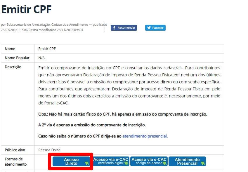 Emitir CPF